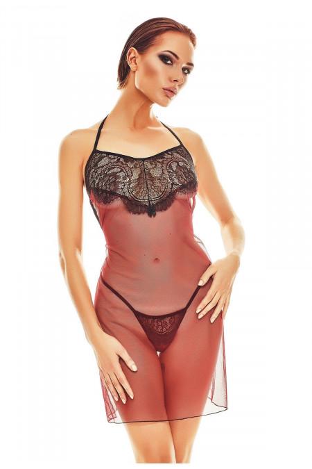 Chemise Anais Fantasme chemise & string black-red