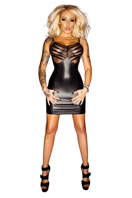 schwarzes Wetlook-Kleid F078 von Noir Handmade