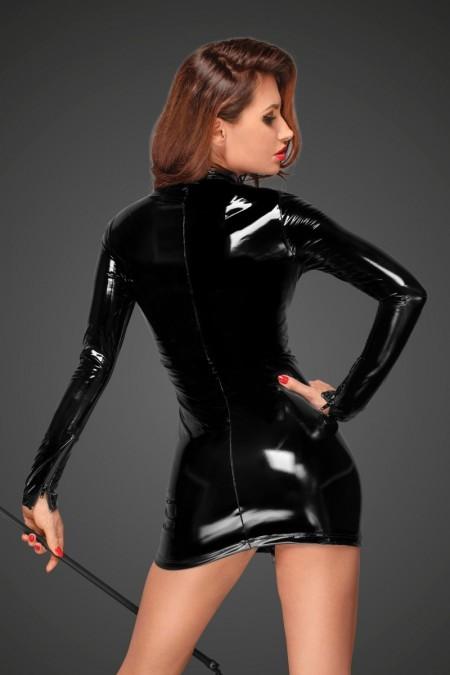 PVC Minikleid mit schwarzem 2-Wege Zipper auf der Vorderseite F187 von Noir Handmade Decadence Collection